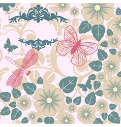 retro background with stylized insects and flowers vector image
