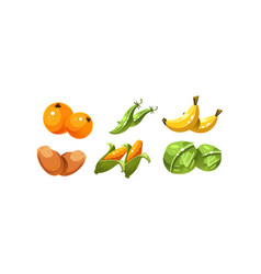 Ripe glossy vegetables and fruits orange green vector