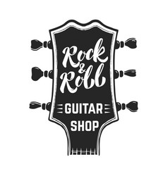 Rock and roll guitar headstock with lettering vector