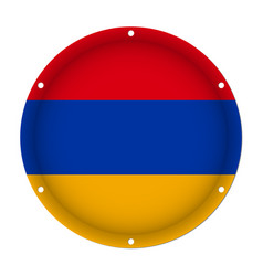 round metallic flag of armenia with screw holes vector image