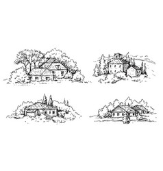 Rural scene with houses and trees sketch vector