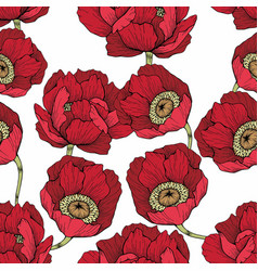 Seamless pattern with red flowers for design vector