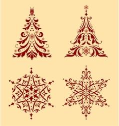 Set christmas ornaments vector
