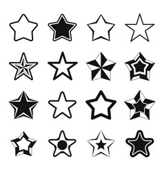 set flat black silhouette star icons vector image