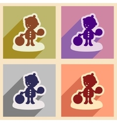 Set flat icons with long shadow child playing in vector image