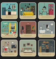 set interior rooms vector image