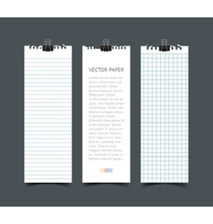 Set of blank white notepaper vertical web banners vector image