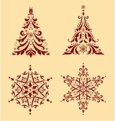 Set of Christmas ornaments vector image
