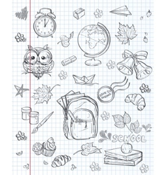 Set of different school subjects backpack paints vector