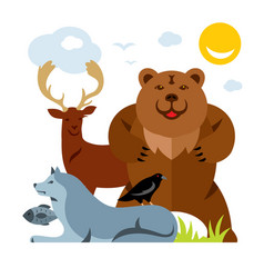 Set of different wild animals flat style vector