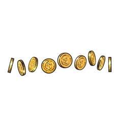 set of gold coins with dollar symbol in different vector image