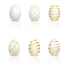set of golden eggs for easter vector image