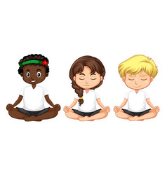 set of multicultural people meditate vector image