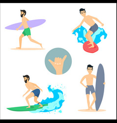 set of of surfing men on vector image
