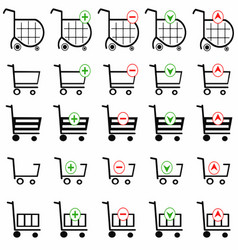 shopping cart set on white background vector image