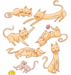 Six cats and one mouse vector