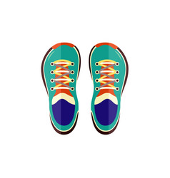 sneakers sport shoes top view for training or vector image