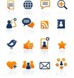 Social media and network icons set vector
