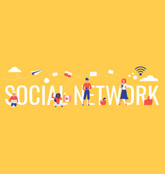 social network lettering vector image