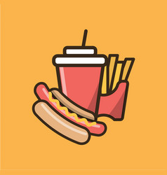 Soda soft drink french fries and hot dog vector