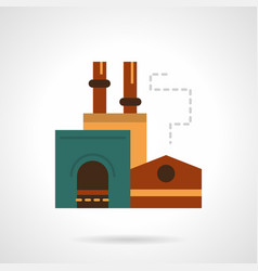 Steel factory flat color icon vector