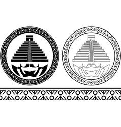 stencils of mayan pyramids vector image