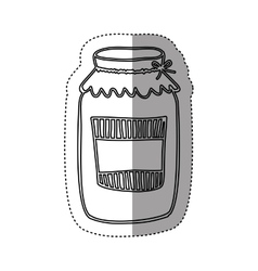 sticker silhouette glass jam with label and lid vector image