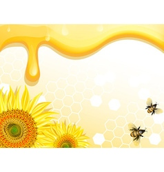 Sunflower and bee design on a honey backdrop vector