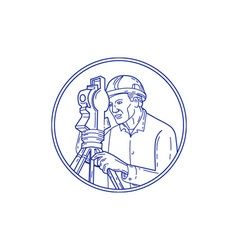 Surveyor Theodolite Circle Mono Line vector image