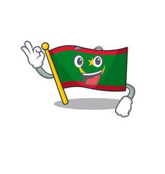 Sweet flag mauritania cartoon character making vector