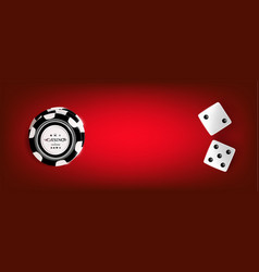 top view of casino chips dice on red background vector image