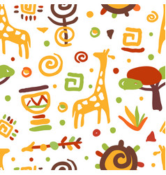 traditional african culture symbols seamless vector image