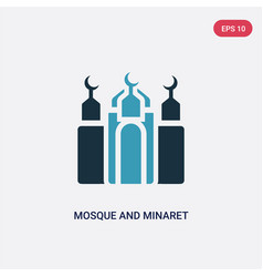 Two color mosque and minaret icon from religion-2 vector