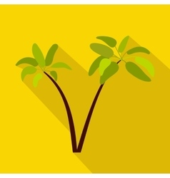 Two palm plant trees icon flat style vector image