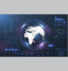 Ui interface earth globe control center vector