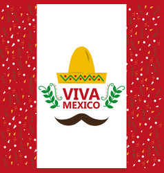 viva mexico hat and mustache confetti decoration vector image