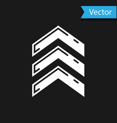 White military rank icon isolated on black vector