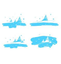 winter landscape drawing brush vector image