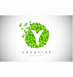 y green leaf logo design eco logo with multiple vector image