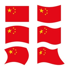 China Flag Set national flag of Chinese state Red vector image vector image