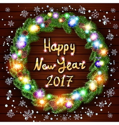 Christmas happy new year 2017 wreath background vector image