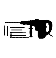 Electric hammer drill and bits silhouettes vector image