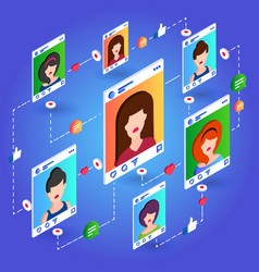 isometric social network communication on blue vector image