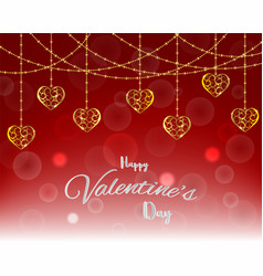 love and happy valentines daybubble with gold vector image