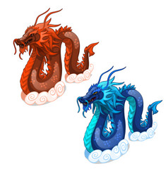 red and blue serpent dragons isolated vector image