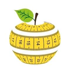 tape measure apple healthy vector image