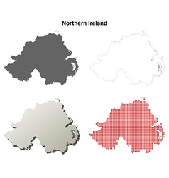 Northern Ireland outline map set vector image vector image