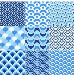 seamless ocean wave pattern vector image vector image