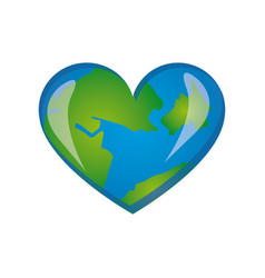earth planet heart icon vector image