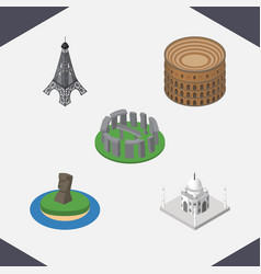 isometric cities set of coliseum india mosque vector image vector image